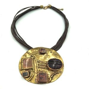 Hammered Scarab Glass Brass Copper Corded Necklace